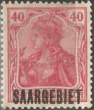 MH 1920 Stamp 40 Pfg. SAARGEBIET OVERPRINT German Empire GERMANIA Rose SARRE