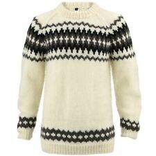 Wool Jumper WHITE Chunky Knit Knitted Sweater Pullover Raglan Crew Neck