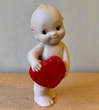 Vintage Jesco Kewpie Doll Porcelain Figurine, Red Heart, Valentine