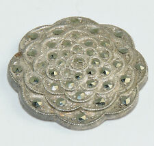 Antique Sterling Silver Deco Oval Flower Rose Design Piece w/ Marcasites #EST559