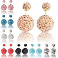 NEW-925 STERLING SILVER GOLD DOUBLE SHAMBALLA CRYSTAL BALL STUD EARRINGS 16MM