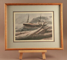 "William E Ryan W.E. ""Coaster"" 1977 Framed Signed Print on Watercolor Paper 17X21"