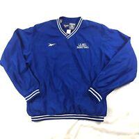 Vintage 90's Reebok Men Sz XL Blue Windbreaker Pullover Rain Jacket V-Neck Lined