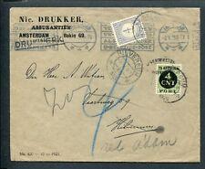 1925 ongefr. env naar Hilversum; port P 65; afgeschreven retour A'dam; port P 49