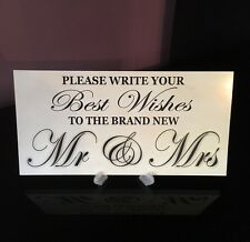 WEDDING BOOK MR & MRS WISHES GIFT RECEPTION CAKE TABLE PLAQUE SIGN *FREE STAND*