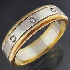 Chunky & Heavy Solid 9k GOLD 2-TONE BAND with 3 DIAMOND FLUSH SET RING Sz R1/2