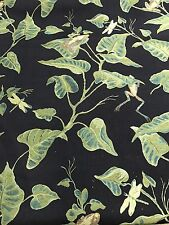 Black Green Woven UPHOLSTERY  FABRIC Home Decor Foliage Frogs Dragonflies 6 Yds