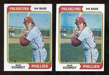 (2) 1974 Topps MIKE SCHMIDT #283 Baseball Card LOT Vg-Ex No Creases