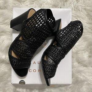 NWT LC Lauren Conrad Morganite Ankle Woven Black Bootie Sandal Sz 7.5