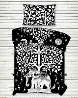 Indian Elephant Tree Of Life Black Cotton Bedsheet Bedding Bedspread Twin Size
