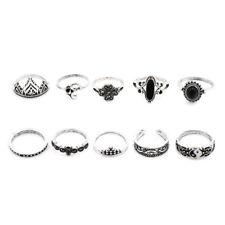 10pcs/set Flower Midi Ring Sets for Women Boho Beach Vintage Punk Knuckle Rings