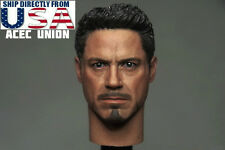 "1/6 Iron Man Tony Stark Head Sculpt For 12"" Hot Toys Male Figure U.S.A. SELLER"
