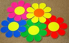 1960's 1970'S RETRO HIPPIE / HIPPY GROOVY 5 LARGE FLURO FLOWER POWER STICKERS