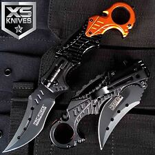 "8.5"" Tac-Force Orange Spring Assisted Emt Rescue Led Light Folding Pocket Knife"