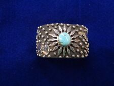 Navajo cuff signed Shakey Sterling Silver, Turquoise center stone