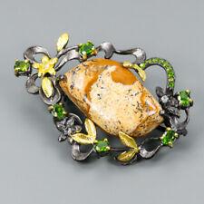 Handmade Natural Jasper 925 Sterling Silver Brooch /NB06053
