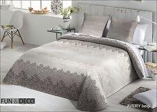 Colcha edredon bouti cama de 90, 105, 135 ,150 bedspread  beige malva cenefa