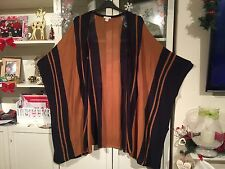 609 H&M Plus One Size 20/22/24/26 Navy&Tan Batwing Long Shawl/Poncho/Cardy