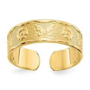 14k Yellow Gold Flower Butterfly Adjustable Cute Toe Ring Set Fine Jewelry