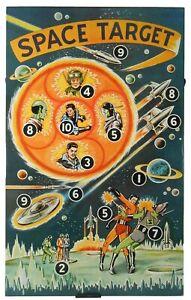 SCARCE SPACE TARGET MID-20TH C VINT LG LITHO'D ENML TIN DRTBRD, NO RUBBER DARTS