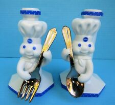 New ListingDanbury Mint Pillsbury Doughboy Fork/Spoon Porcelain Candle Stick Holders Fship!