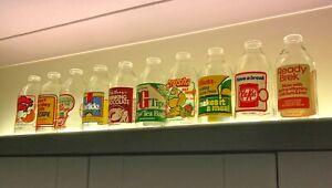 Vintage 1980's 1 pint Advertising Milk Bottles - Great designs to choose from