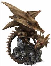 Dragon Sitting on Tree Stump Surrounded By Skulls Figurine 450g H21cm x W17cm