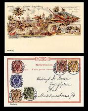 Dt. Kolonien DEUTSCH NEUGUINEA MiNr. 1-6 auf Postkarte  FÄLSCHUNG