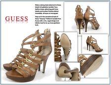 """Women's Brown Guess """"Kesaray"""" Women Open Toe Synthetic Platform Sandal: Size 8 M"""