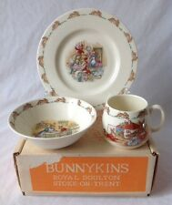 Vintage Royal Doulton Bunnykins 3 Pc Childs Set Stoke on Trent Bowl Plate Cup