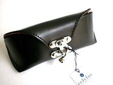 Celyfos® Handmade real leather glasses case for Browline frames Black