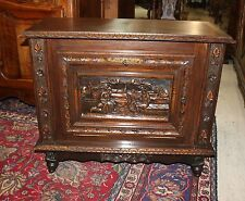 Beautiful Antique French Carved Oak Brittany Cabinet / Bar