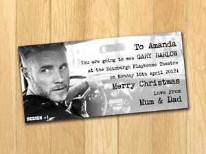 Gary Barlow 2021 Personalised Gift Ticket Present Christmas
