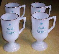VTG IRISH COFFEE MUG MILK GLASS CUP GOLD FLASH CAFE GAELIC BREAKFAST BAR PUB FUN