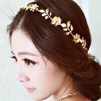 Women  Lady Metallic Leaf Flower Elastic Hair Band Headband Headwear New、2018