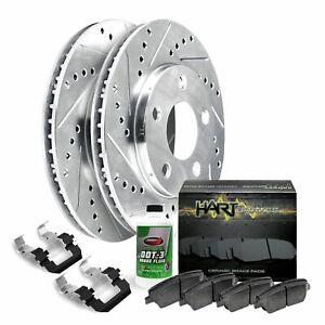 KT171323 Premium Cross Drilled Rotors + Ceramic Pads Fits 2012 2013 2014 Audi A4 A5 Max Brakes Front /& Rear Performance Brake Kit