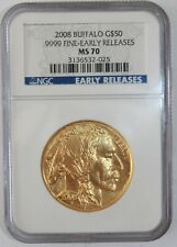 """2008 $50 GOLD BUFFALO MS70 NGC *EARLY RELEASES* LOWEST MINTAGE 1 OZ. """"SUPERB"""""""