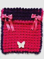 POM POM TURNOVER BABY BLANKET, HOT PINK / FUCHSIA  & PURPLE WITH REMOVABLE BOWS