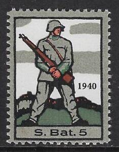 Switzerland Soldier stamp: Infantry, INF #47 Sleeve Var: S.Bat.5, MNH - sw500b