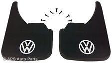 Universal Car Mudflaps Front Rear VW Volkswagen White Logo Lupo Passat Polo