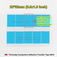 10pcs 22x32mm 3M 8810 Heatsink Thermal Adhesive Blue Cooling Tape Pad