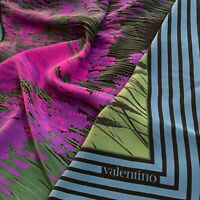 VALENTINO TABLEAU FLORAL BLUE LARGE HAND ROLLED Silk Scarf 35/33 inches