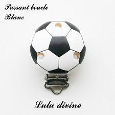 Pince / Clip en bois, attache tétine, passant boucle, Ballon de foot : Blanc