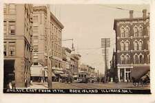 Rock Island Illinois 2nd Ave East from 17th Real Photo Antique Postcard J62505