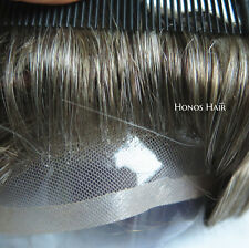 20 Gray Lace Front Toupee French Hair Replacement System Mens Hairpieces 720