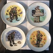 Vintage Emmett Kelly Jr. Set Of 4 Plates w/ Stands 4� Summer Winter Fall Autumn