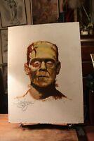 """Original Oil Painting on Board Frankenstein's Monster Richard Harrison Green 24"""""""