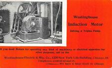 WESTINGHOUSE ELECTRIC INDUCTION MOTOR ILLINOIS AD POSTCARD (c. 1903) ++