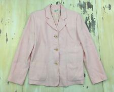 Ann Taylor - Womens Pink Wool 3-Button Wool-blend Lined Blazer Jacket, 14