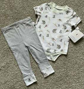 Burt's Bees NWT Infant Baby Boy Unisex Koala Outfit Bodysuit Pants 6-9m Organic